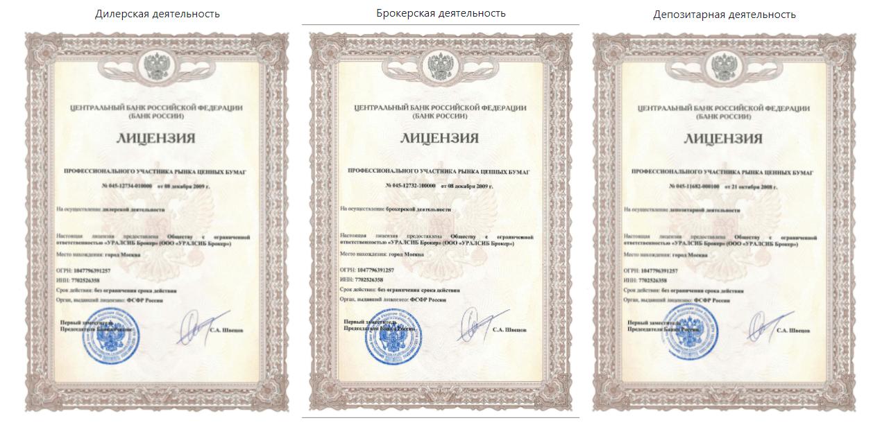 Лицензии с официального сайта компании УРАЛСИБ Брокер